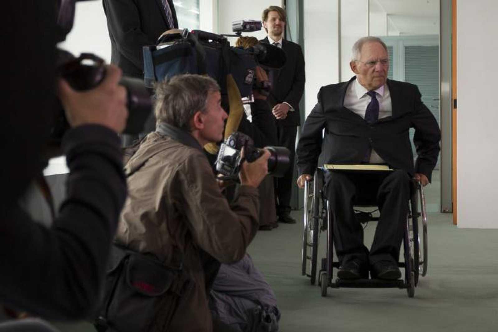 El ministro de Finanzas alemán, Wolfgang Schauble, a su llegada a una reunión de ministros en la Cancillería.