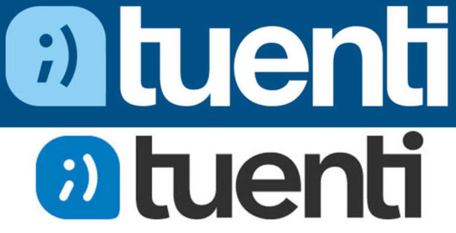 El nuevo logo de Tuenti (debajo), más azul y redondeado
