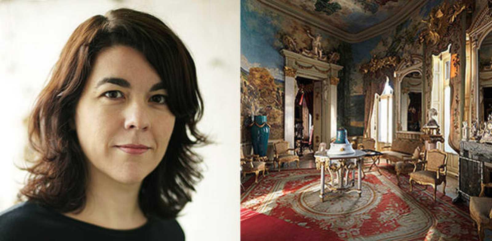 Catalina González Vilar y una sala del Museo Cerralbo en el que se ha inspirado para su premiada novela, 'Los coleccionistas'