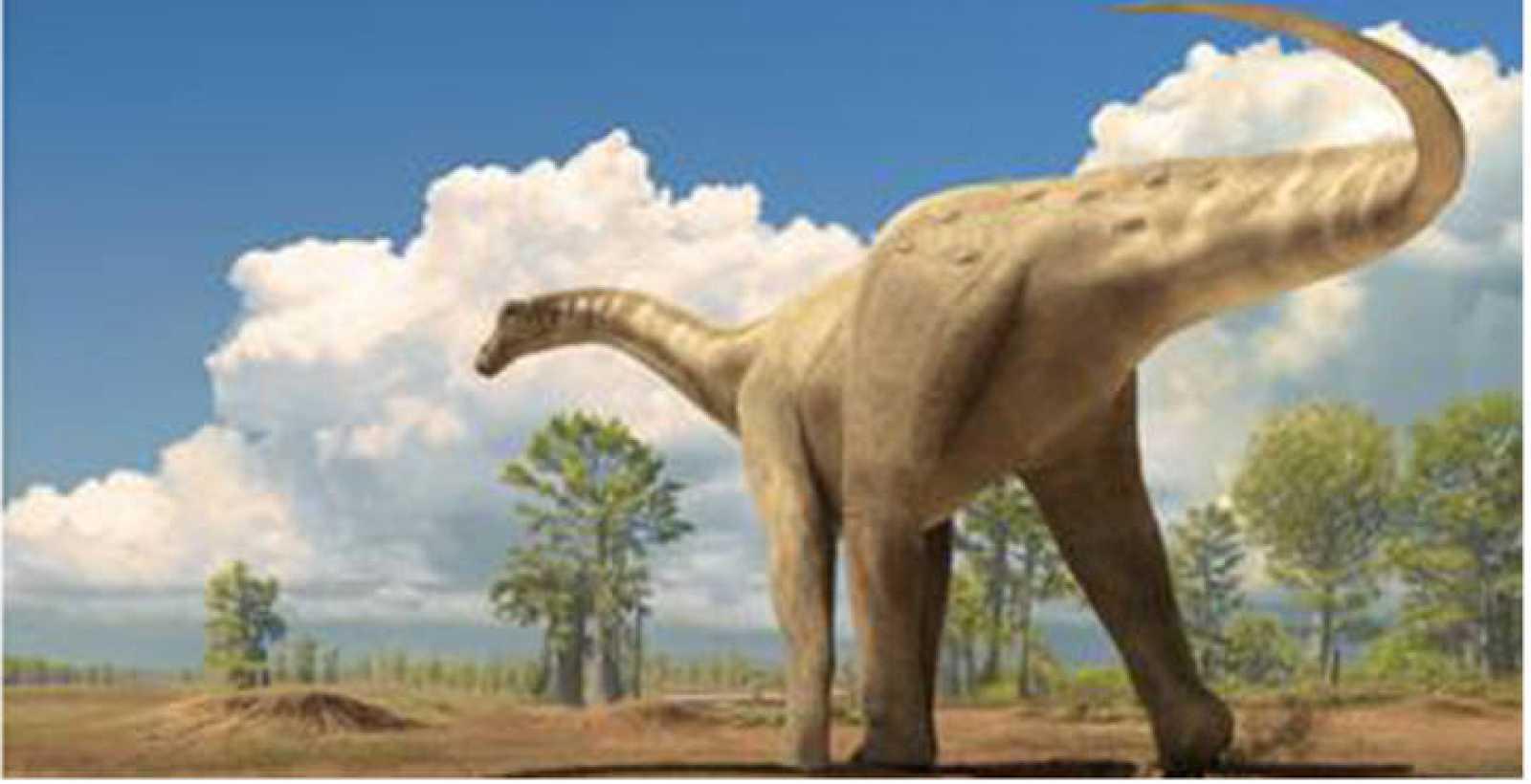 Reconstrucción de un dinosaruio de la familia titanosaurio, que según la investigación se extinguieron repentinamente