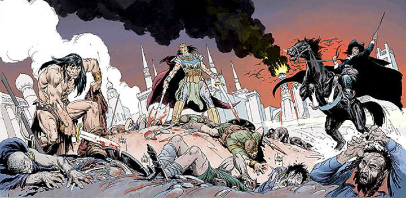 Los tres personajes más conocidos de Robert E. Howard, Conan, El Rey Kull y Solomón Kane, ilustrados por Joe Kubert