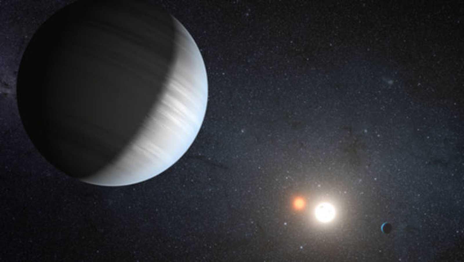 Resultado de imagen de Astrónomos de la NASA descubrieron el primer planeta que gira alrededor de 2 soles,