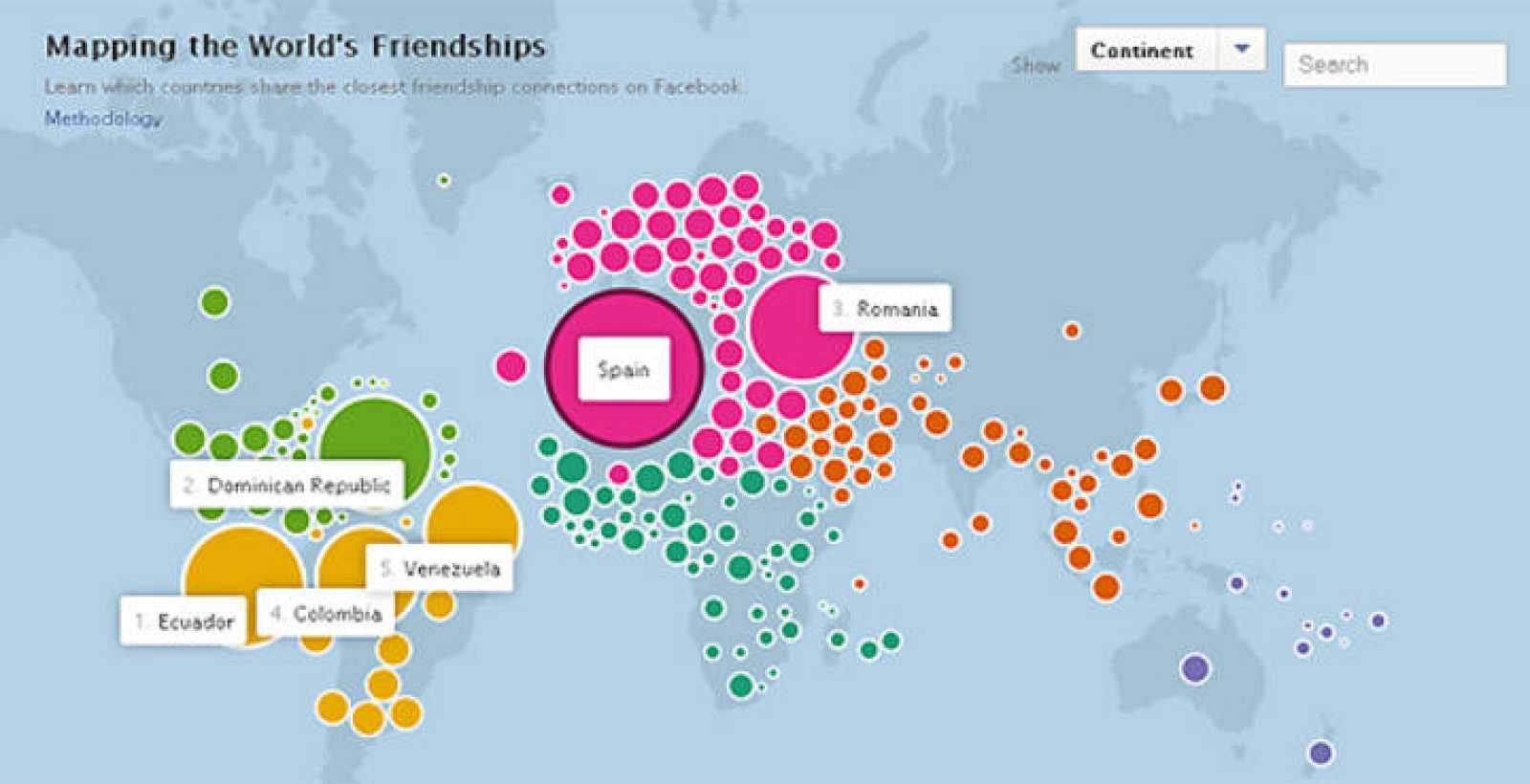 Facebook lanza el mapa de las amistades 'on-line' a través de su red social