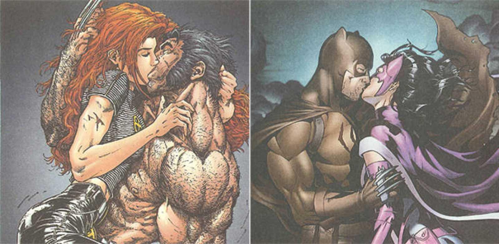 Apasionados besos de Lobezno (Marvel) y Batman (DC Comics) recogidos en la 'Enciclopedia erótica del cómic', de Luis Gasca y Roman Gubern