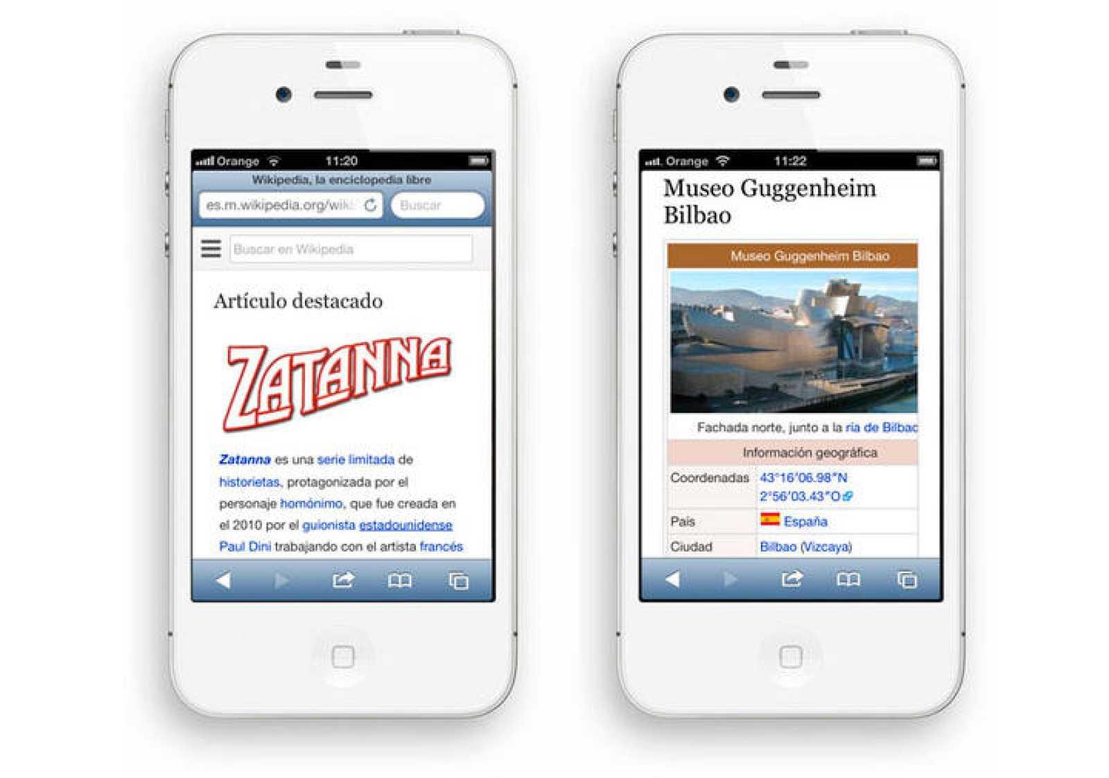 Imagen del rediseño de Wikipedia para móviles en castellano