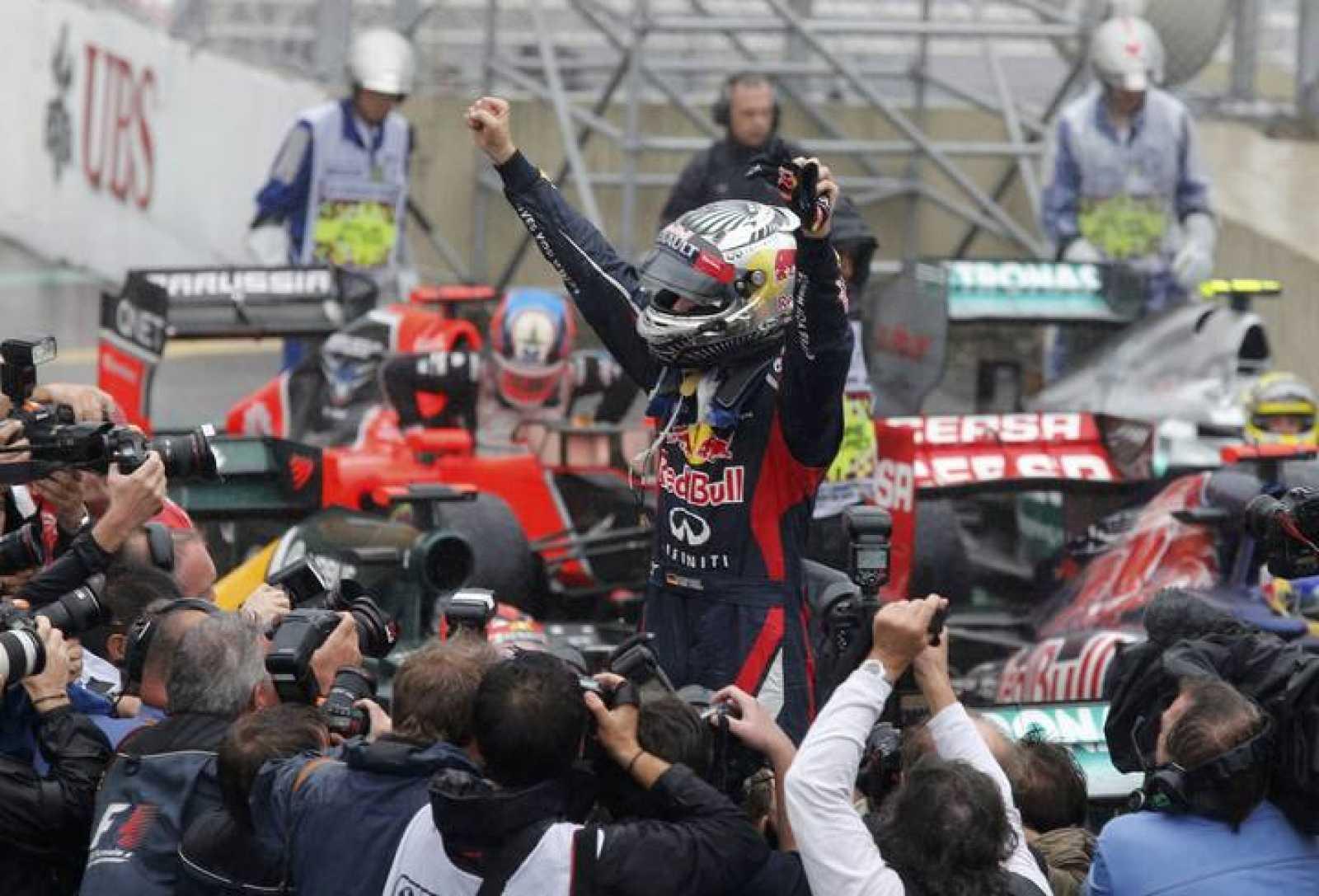 Sebastian Vettel celebra su tercer Mundial de Fórmula 1