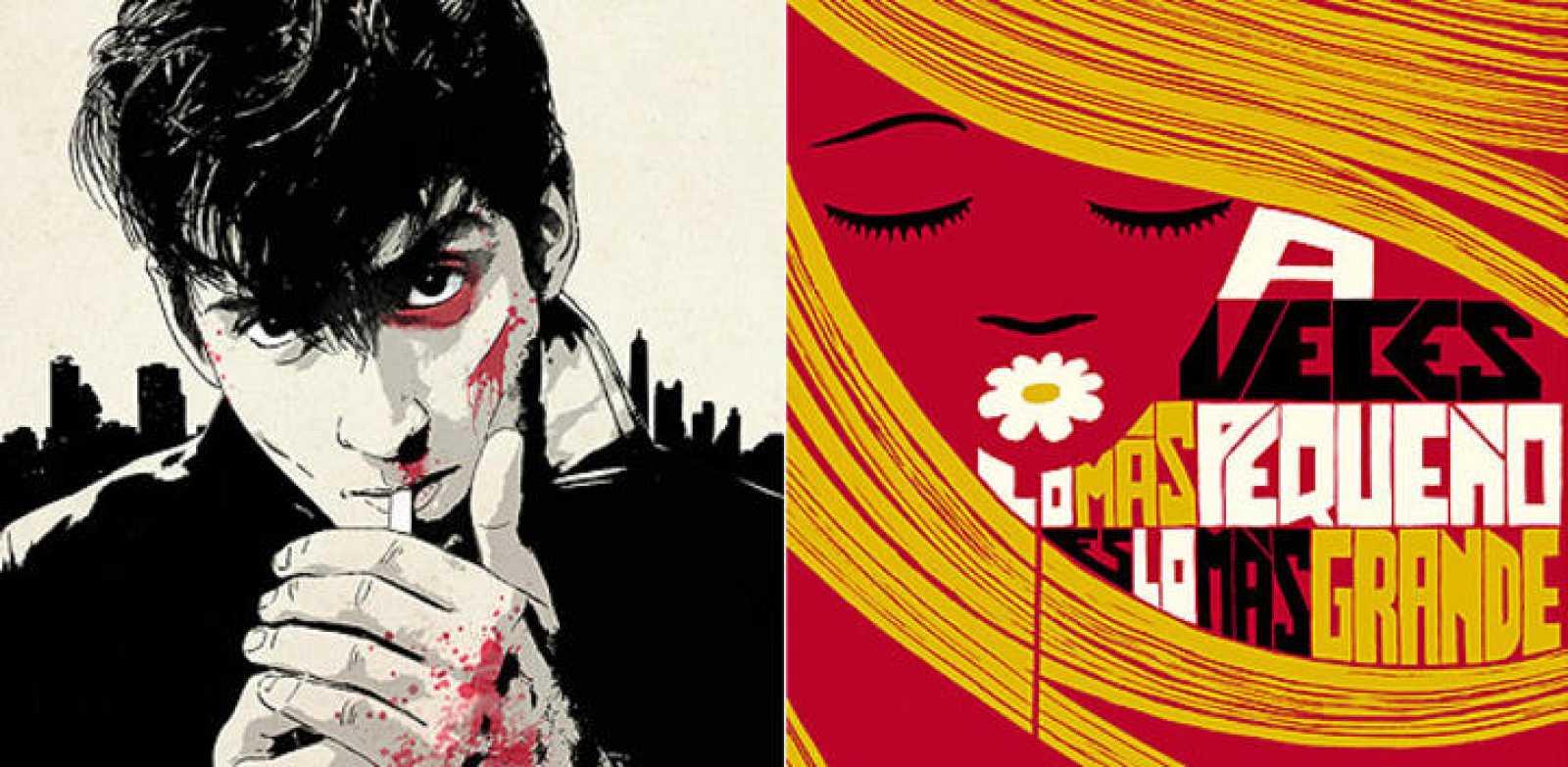 Fragmentos de ilustraciones de Óscar Giménez (Arctic Monkeys) e Iván Solbes (Cartel para la marca Nobel)