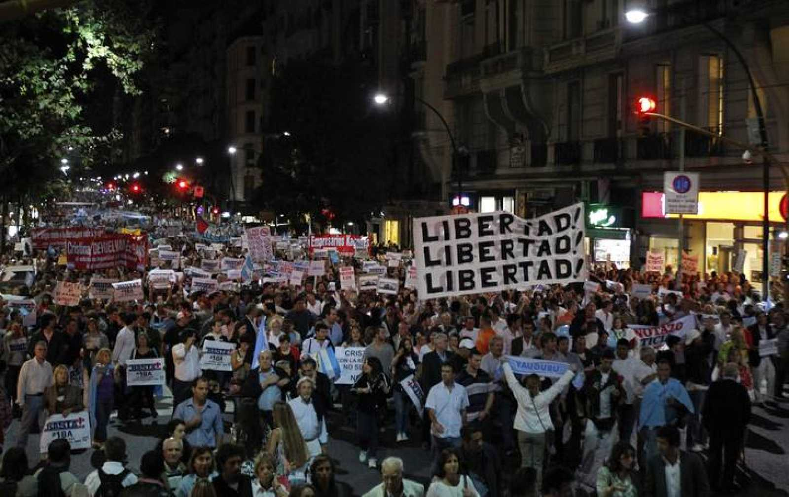 Protesters march during a demonstration against Argentine President de Kirchner's administration in Buenos Aires
