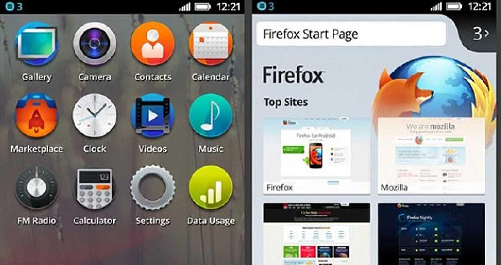 Pantalla con aplicaciones de Firefox OS.