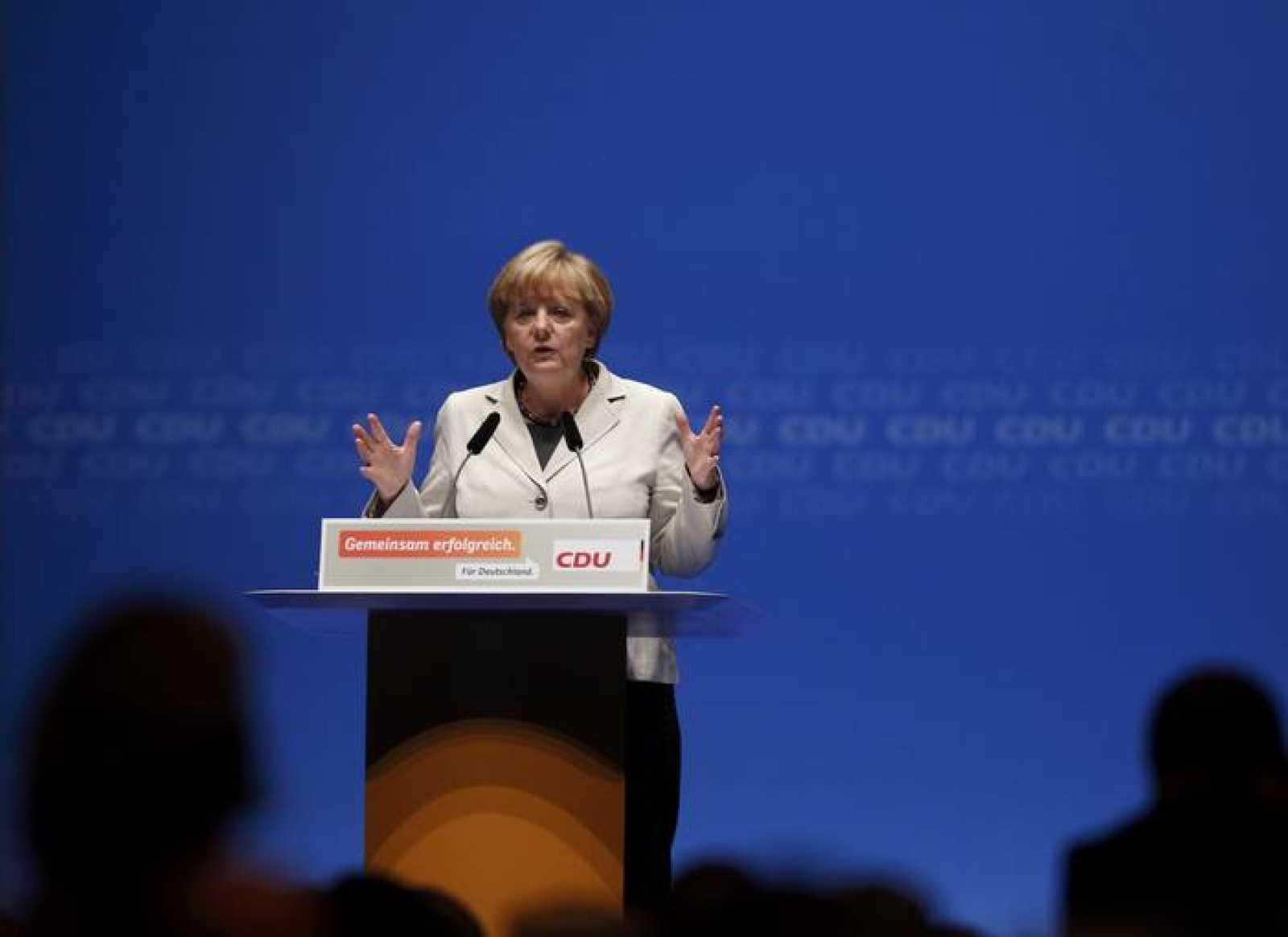 La canciller alemana, Angela Merkel, durante un acto de campaña electoral de la Unión Demócrata Cristiana de Alemania (CDU).