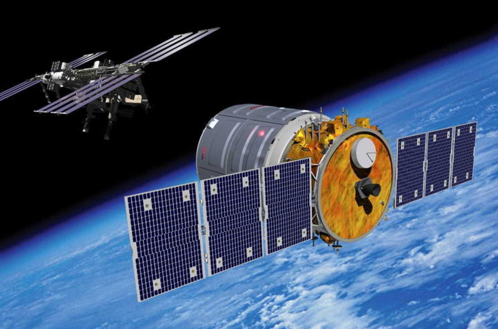 Impresión artística de la Cygnus aproximándose a la Estación Espacial Internacional