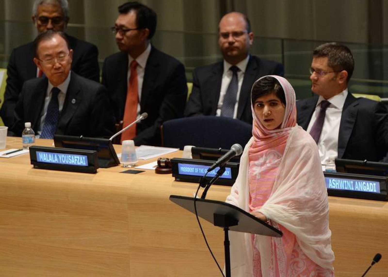 Malala, en una foto de su discurso ante la ONU el 12 de julio de 2013