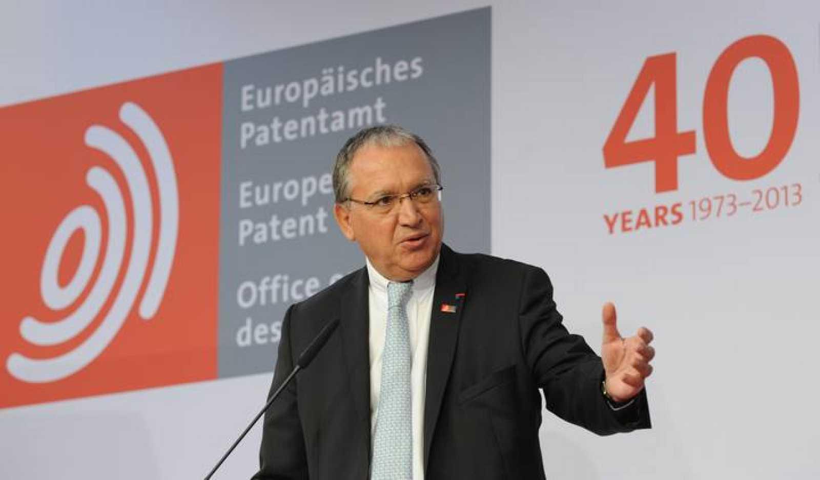 El presidente de la Oficina Europea de Patentes, Benoit Battistelli, en el 40 aniversario de la institución.