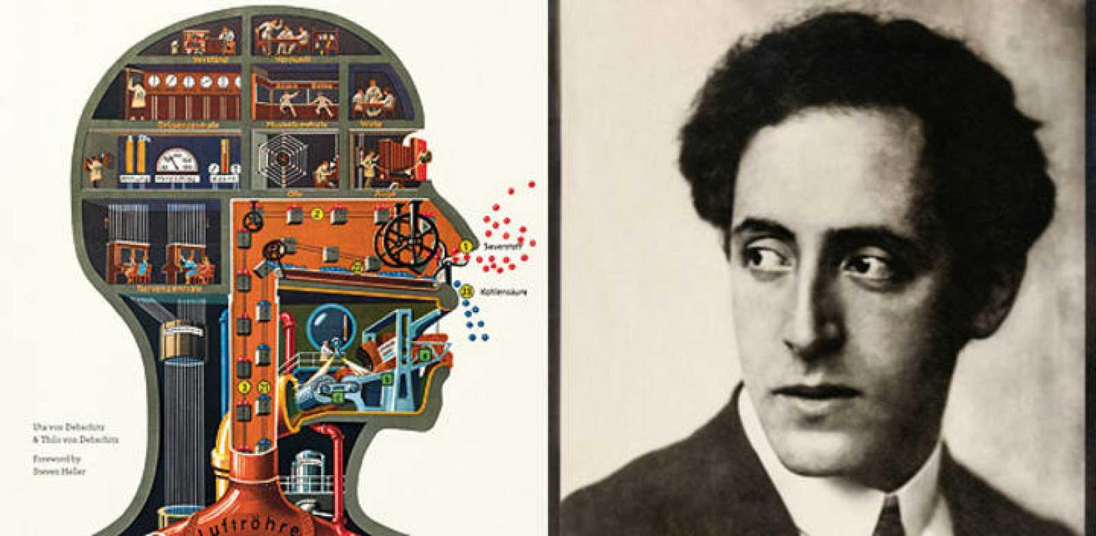 Portada del libro 'Fritz Kahn' y una foto del famoso doctor y pionero del grafismo