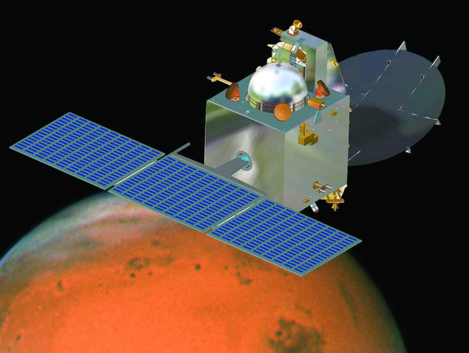 Impresión artística de la MOM en órbita alrededor de Marte