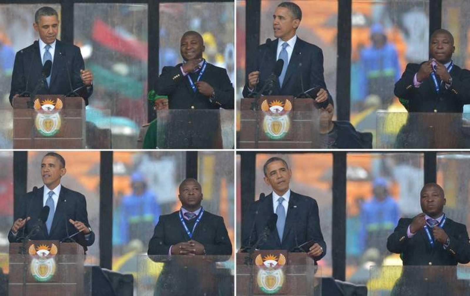 El presidente de EE.UU., Barack Obama, habla mientras el intérprete de signos le traduce en el memorial de Nelson Mandela