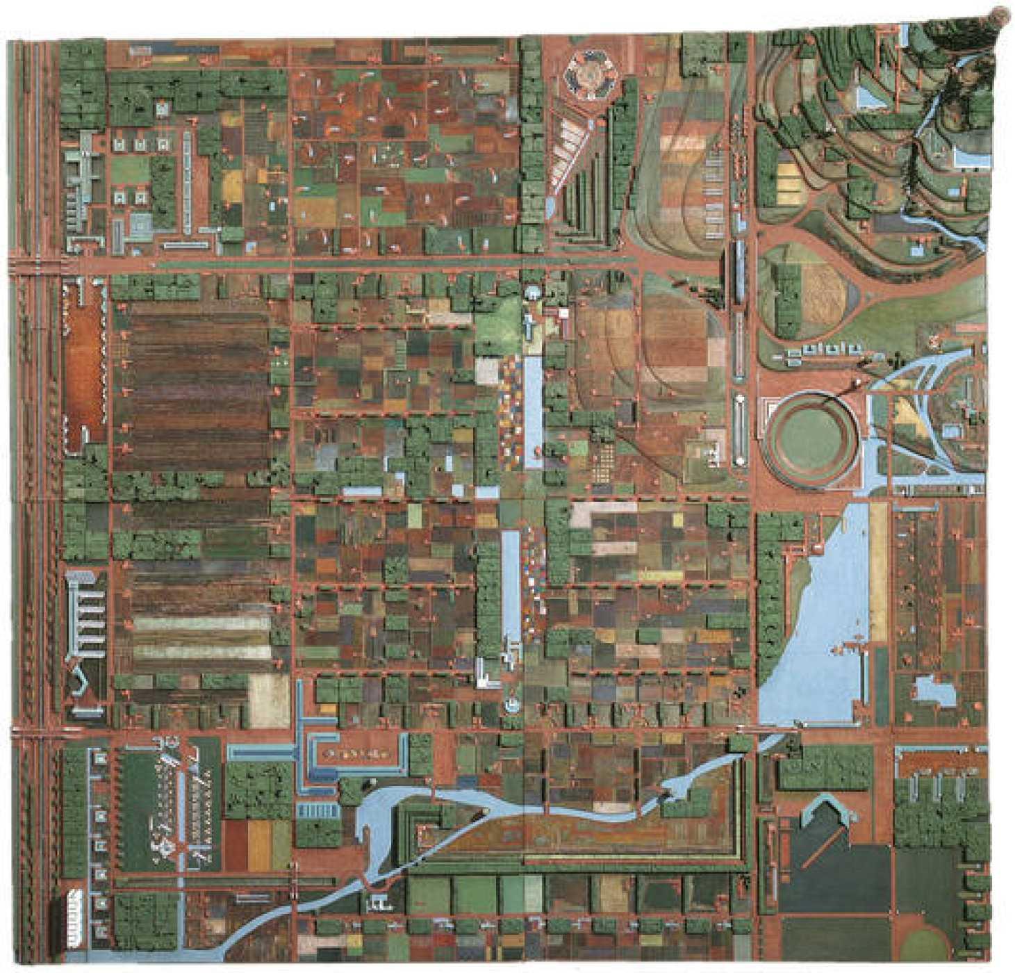 "Broadacre City. Proyecto, 1934-35. Maqueta: madera pintada, 152 x 152"" (386.1 x 386.1 cm)."
