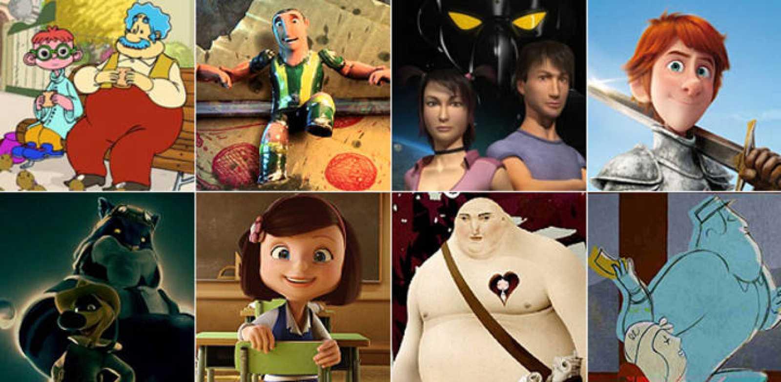 En la línea superior, las nominadas al Goya a la Mejor Película de Animación:  'El extraordinario viaje de Lucius Dumb', 'Futbolín', 'Hiroku. Defensores de Gaia' y 'Justin y la espada del valor'. En la inferior, los cortos: 'Blue & Malone', 'Cuerdas