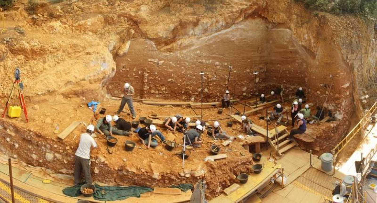 Panorámica de la excavación en 2012 de la Gran Dolina (Sierra de Atapuerca).