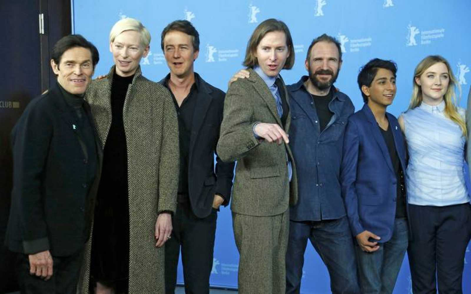 "Actors Dafoe, Swinton, Norton, director Anderson, Fiennes, Revolori and Ronan pose to promote the movie ""The Grand Budapest Hotel"" at the 64th Berlinale International Film Festival in Berlin"