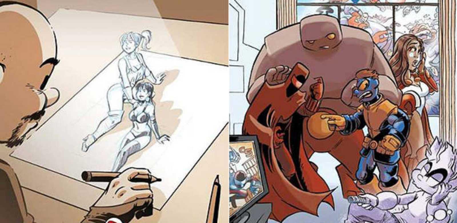 Fragmentos de las portadas de '#haciendotebeos' y 'Los Otros Superhéroes'