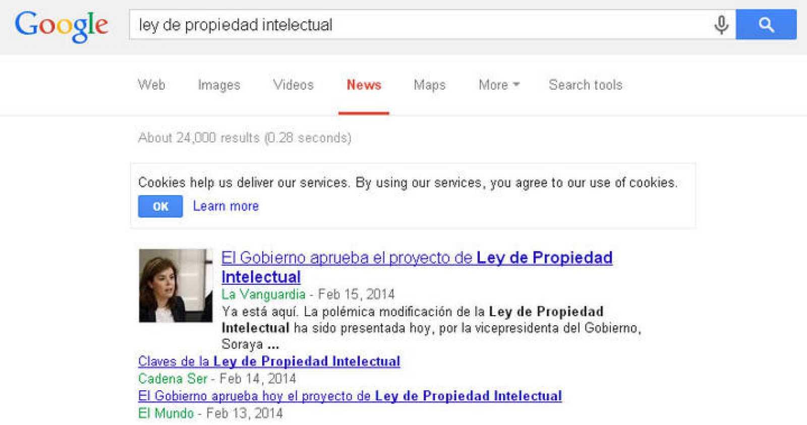 Página de resultados del servicio de noticias de Google.