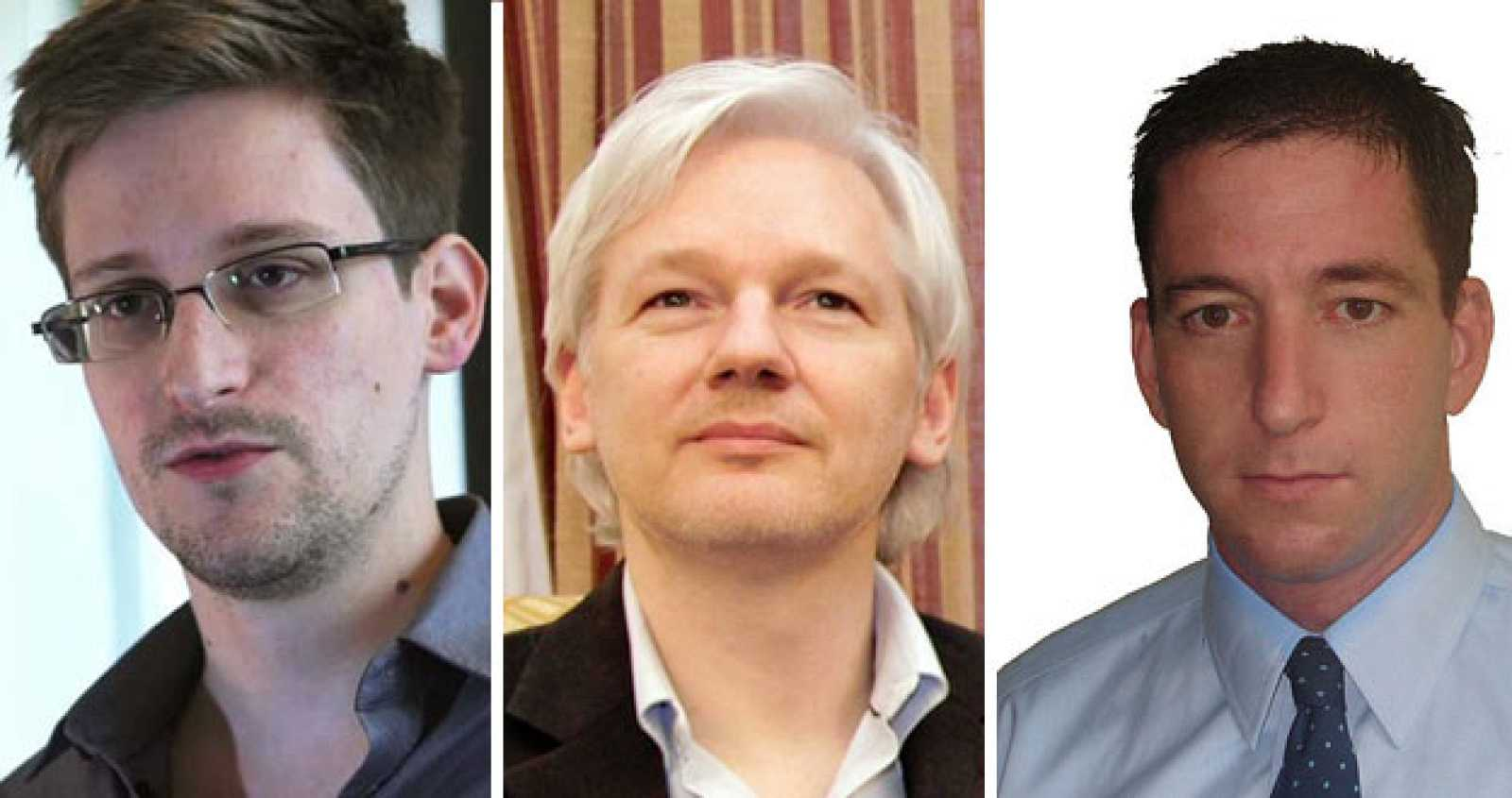 Edward Snowden, Julian Assange y Glenn Greewald.
