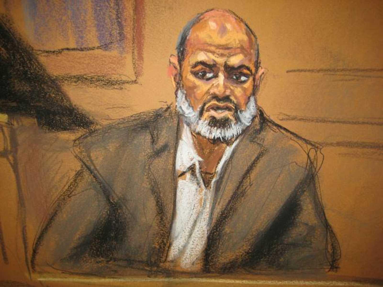 Un retrato del yerno de Osama Bin Laden, Suleiman Abu Ghaith, que ha declarado ante un tribunal de Nueva York.
