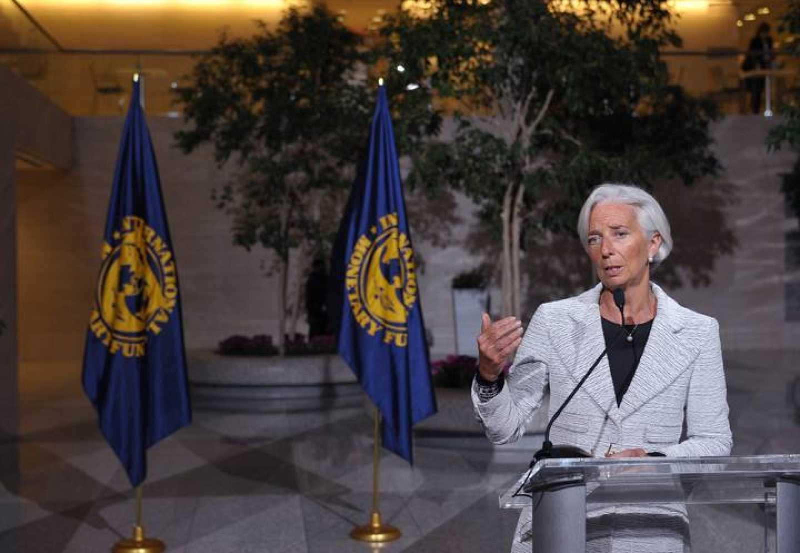 La presidenta del FMI, Christine Lagarde, en rueda de prensa después de una reunión de la institución sobre Ucrania.