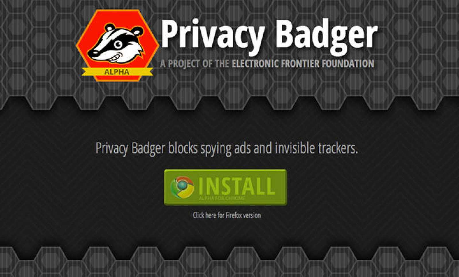 Portada de la web de descarga de Privacy Badger