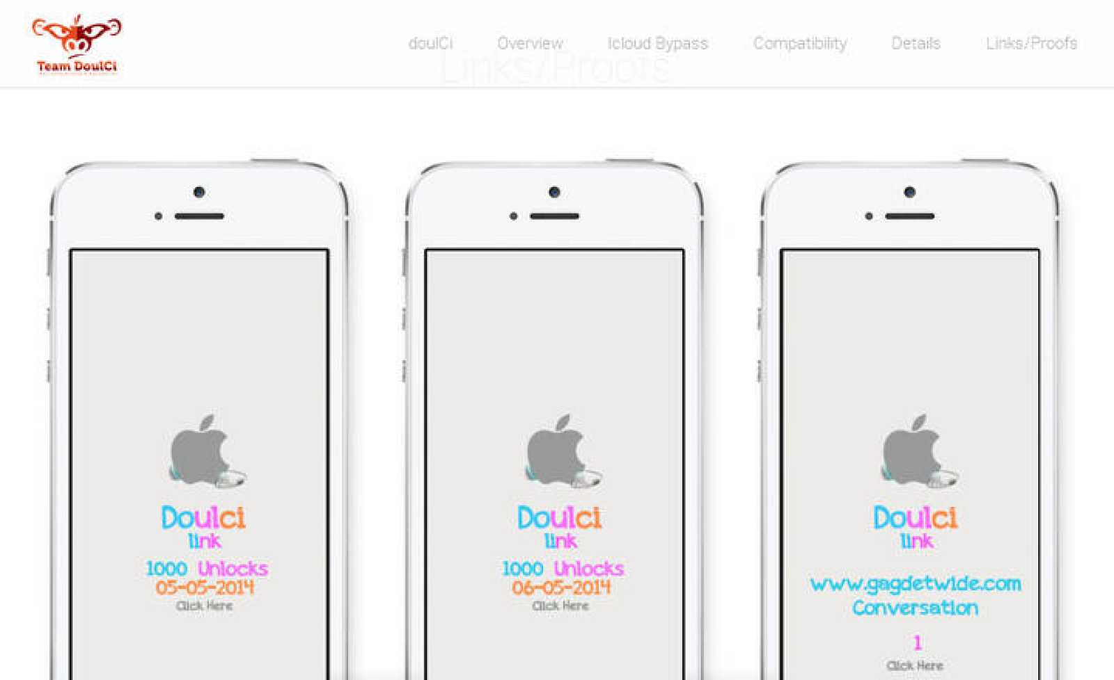 Imagen de 'prueba' en la página web de doulCi para demostrar el desbloqueo de teléfonos iPhone.