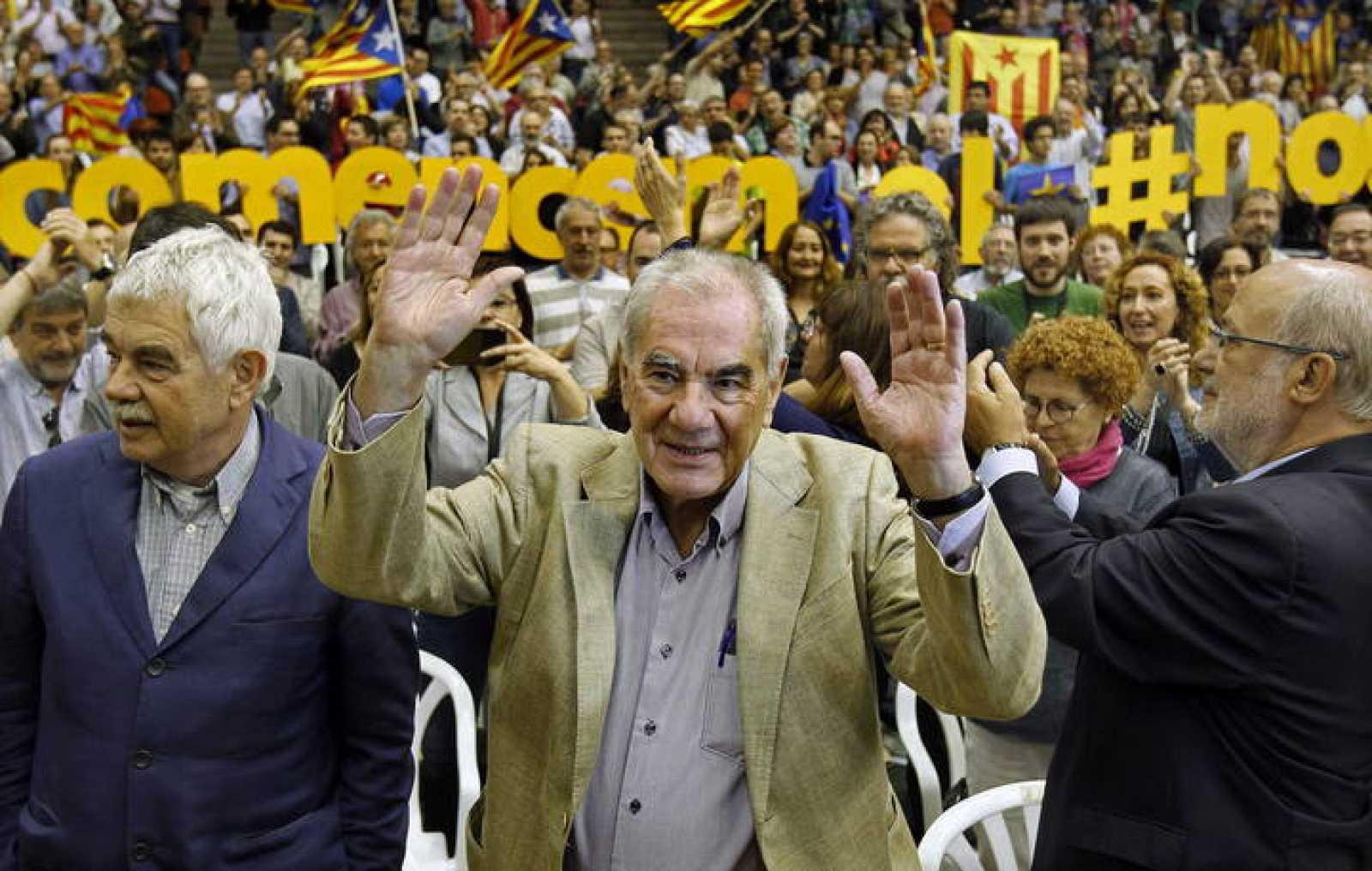El número dos de ERC a las elecciones europeas, Ernest Maragall, en un mitin de campaña el pasado fin de semana.