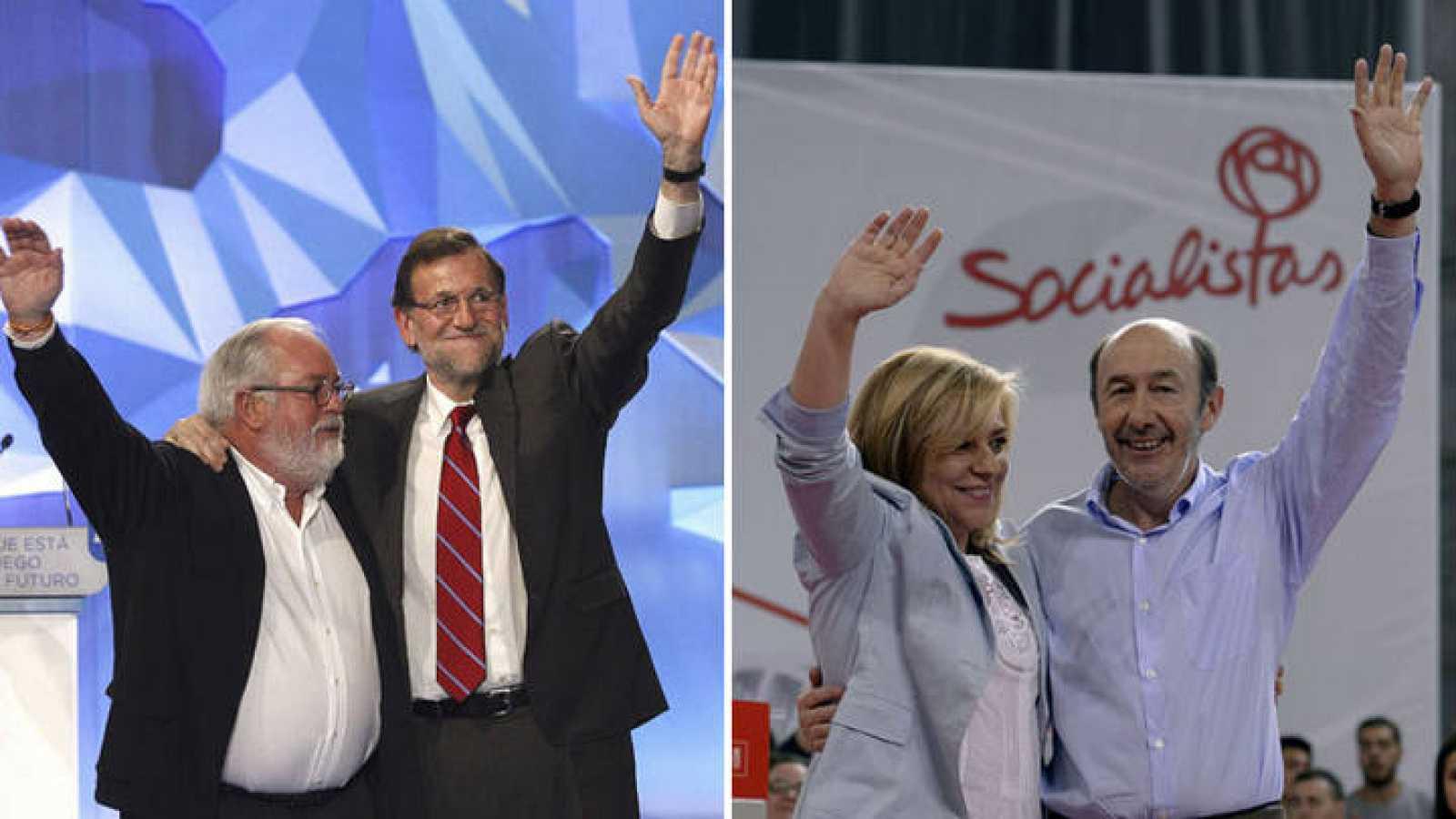 Cañete junto a Rajoy y Valenciano con Rubalcaba en el cierre de campaña