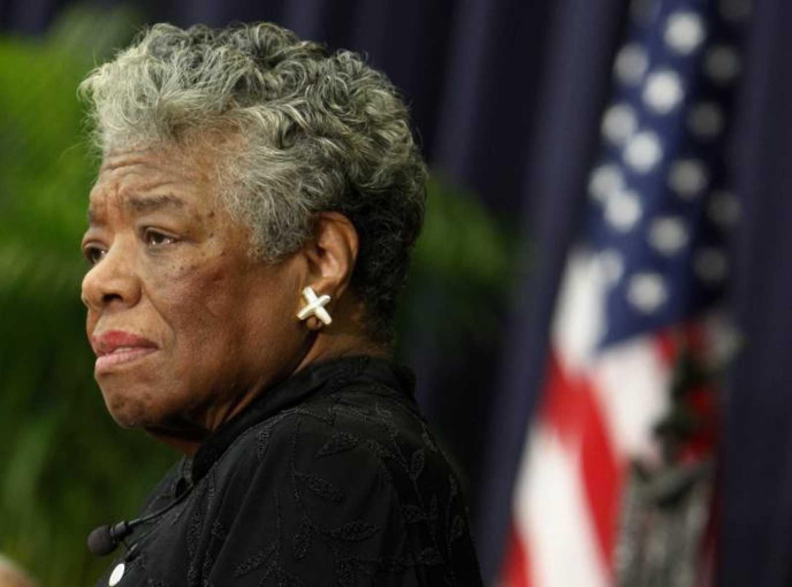 File photo of U.S. poet Maya Angelou speaking during a ceremony to honor South African Archbishop Emeritus Desmond Tutu in Washington