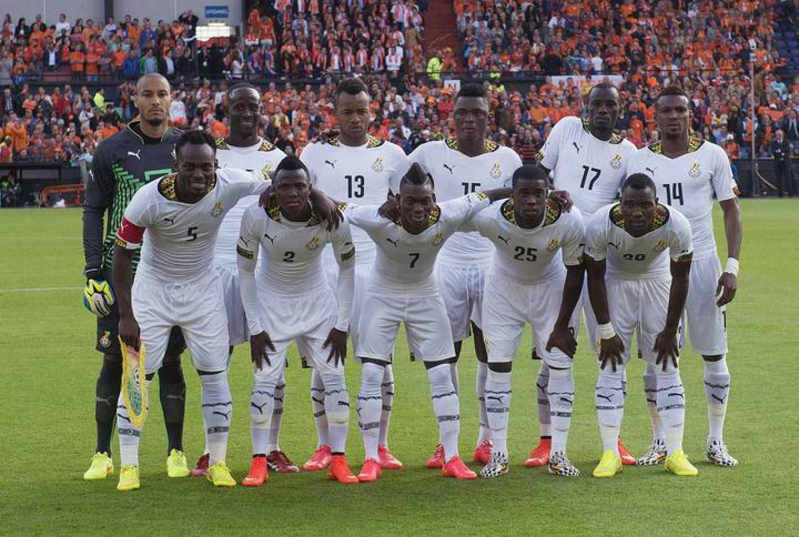 La selección de Ghana posa antes de un amistoso de preparación