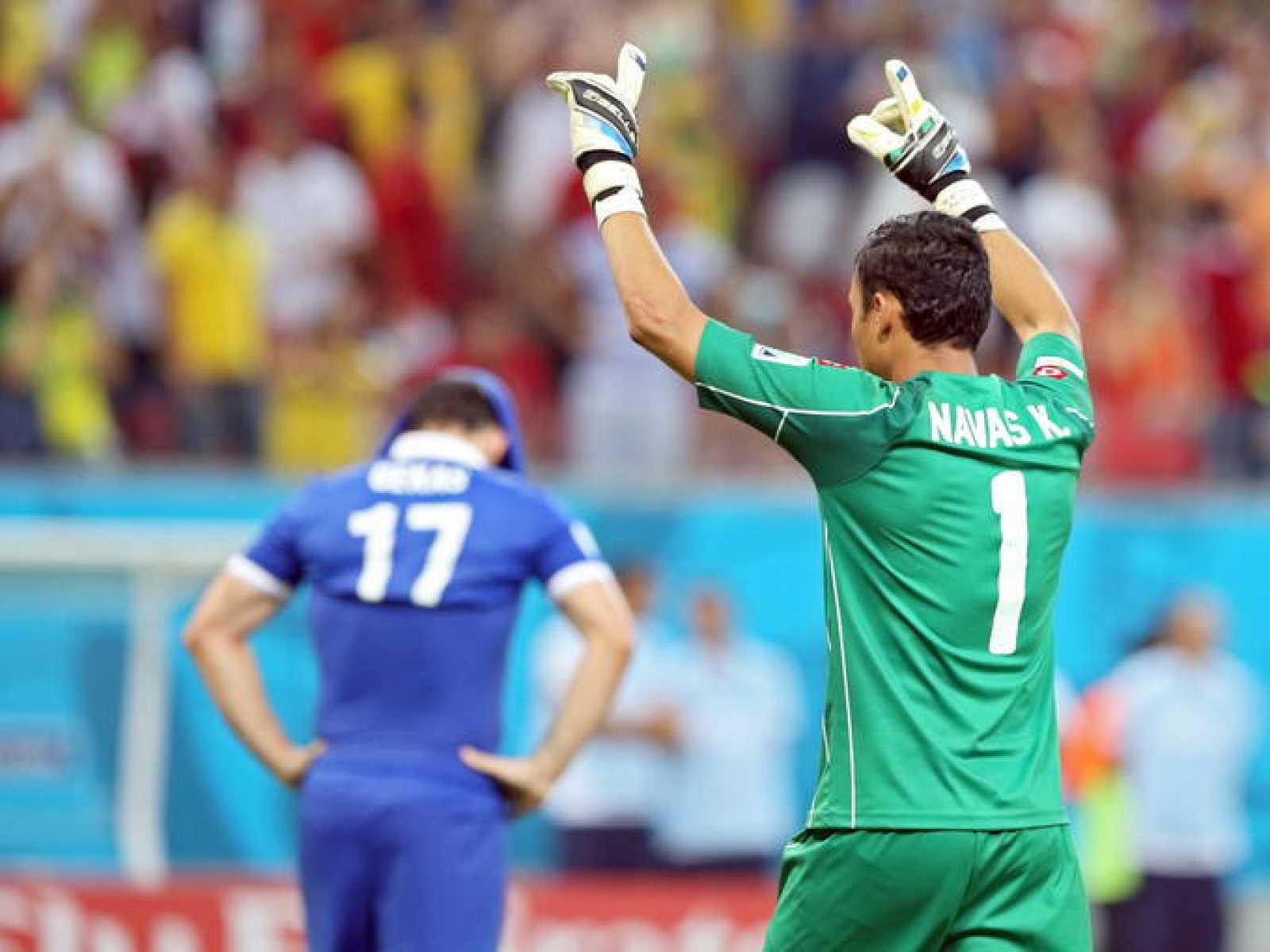 Imagen del 'MVP' del partido, el portero de Costa Rica Keylor Navas.