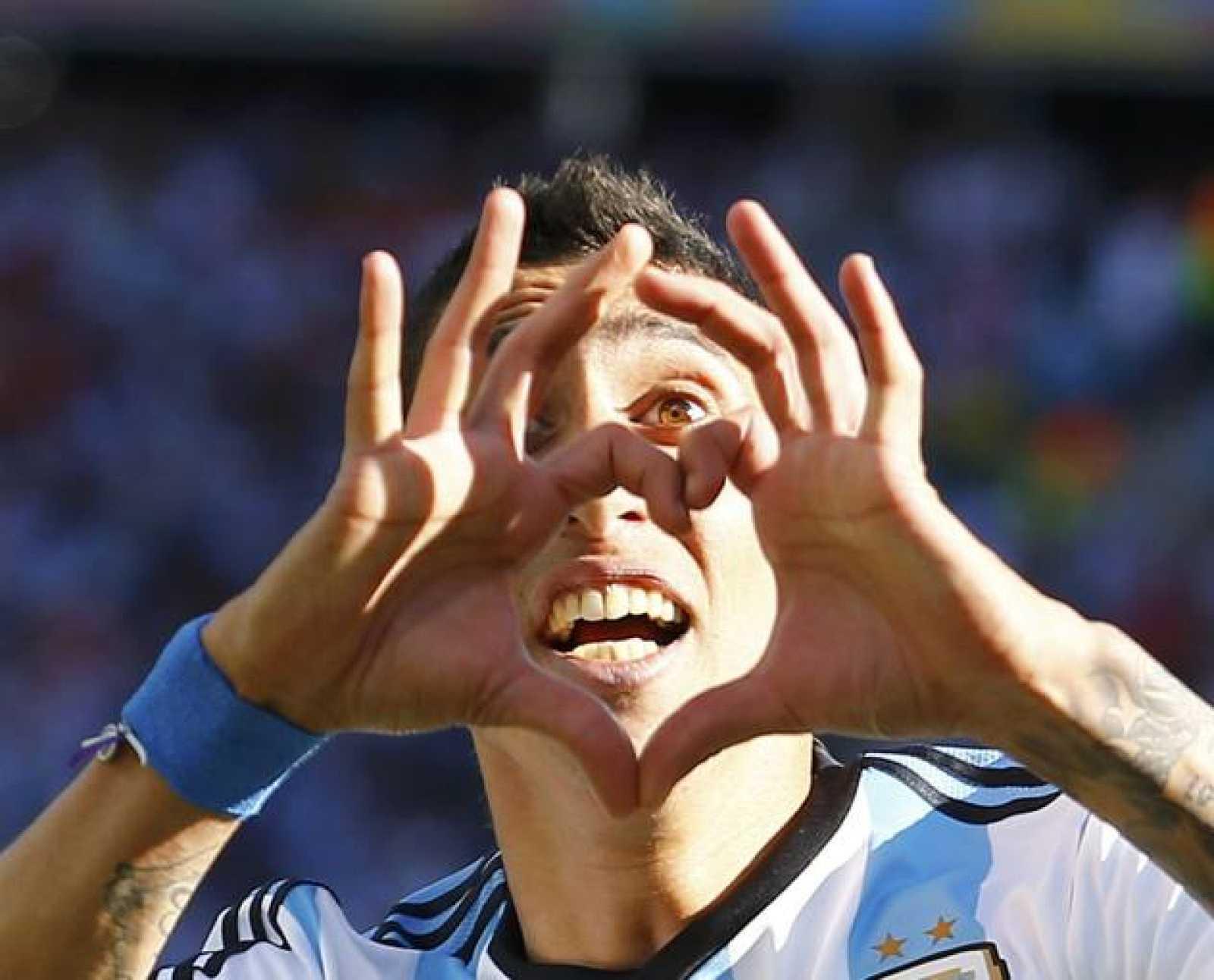 Ángel Di Maria celebra el gol de la victoria, marcado en el minuto 117.
