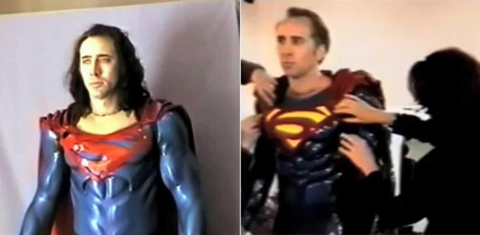 Dos imágenes de 'The Death of Superman Lives', con Nicolas Cage probándose dos versiones del traje