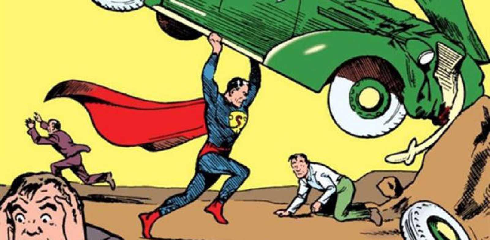 Fragmento de la portada del 'Action comics' Nº 1, publicado en 1938, el origen de Superman y también del género de superhéroes.