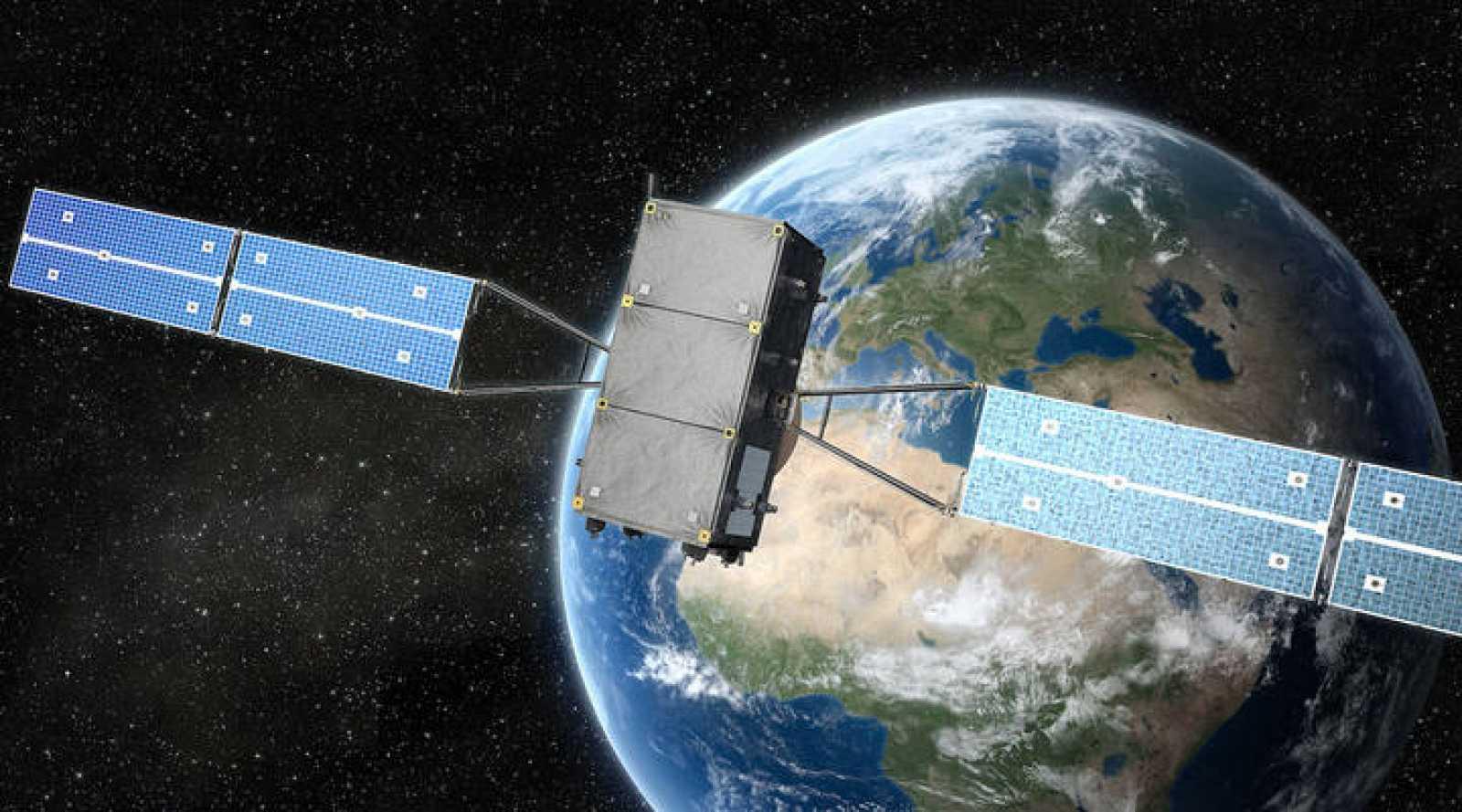 Impresión artística de un satélite Galileo en órbita