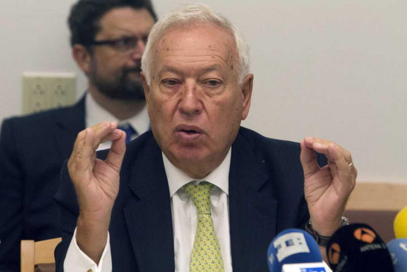 El ministro español de Asuntos Exteriores, José Manuel García-Margallo, durante la rueda de prensa ofrecida este viernes en Nueva York.