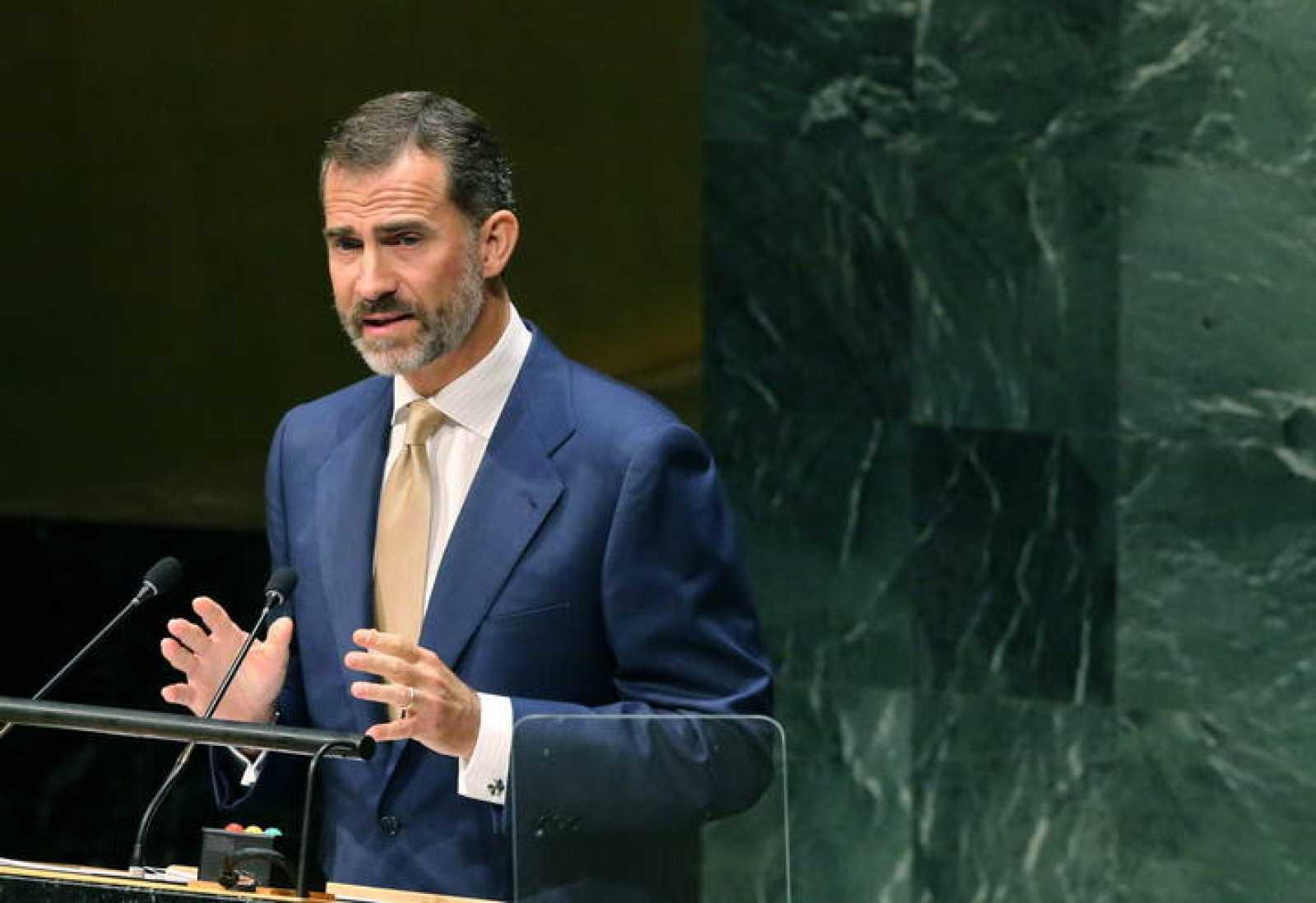 El rey Felipe VI durante la asamblea general de la ONU.