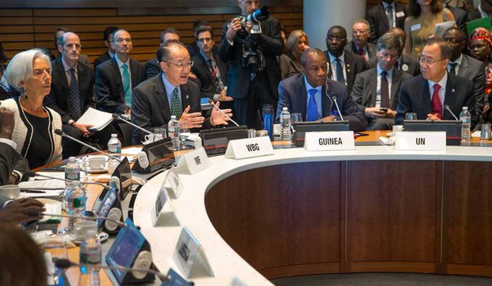 IMF Managing Director Lagarde, World Bank Group President Jim Yong Kim, Guinea's President Conde and UN Secretary-General Ban Ki-moon address the Ebola crisis during the IMF-World Bank annual meetings in Washington