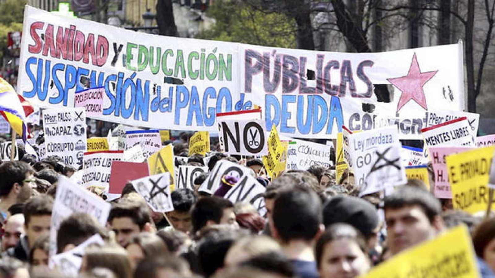 Manifestaciones en una de las dos jornada de huelga convocada por el Sindicato de Estudiantes el pasado mes de marzo.