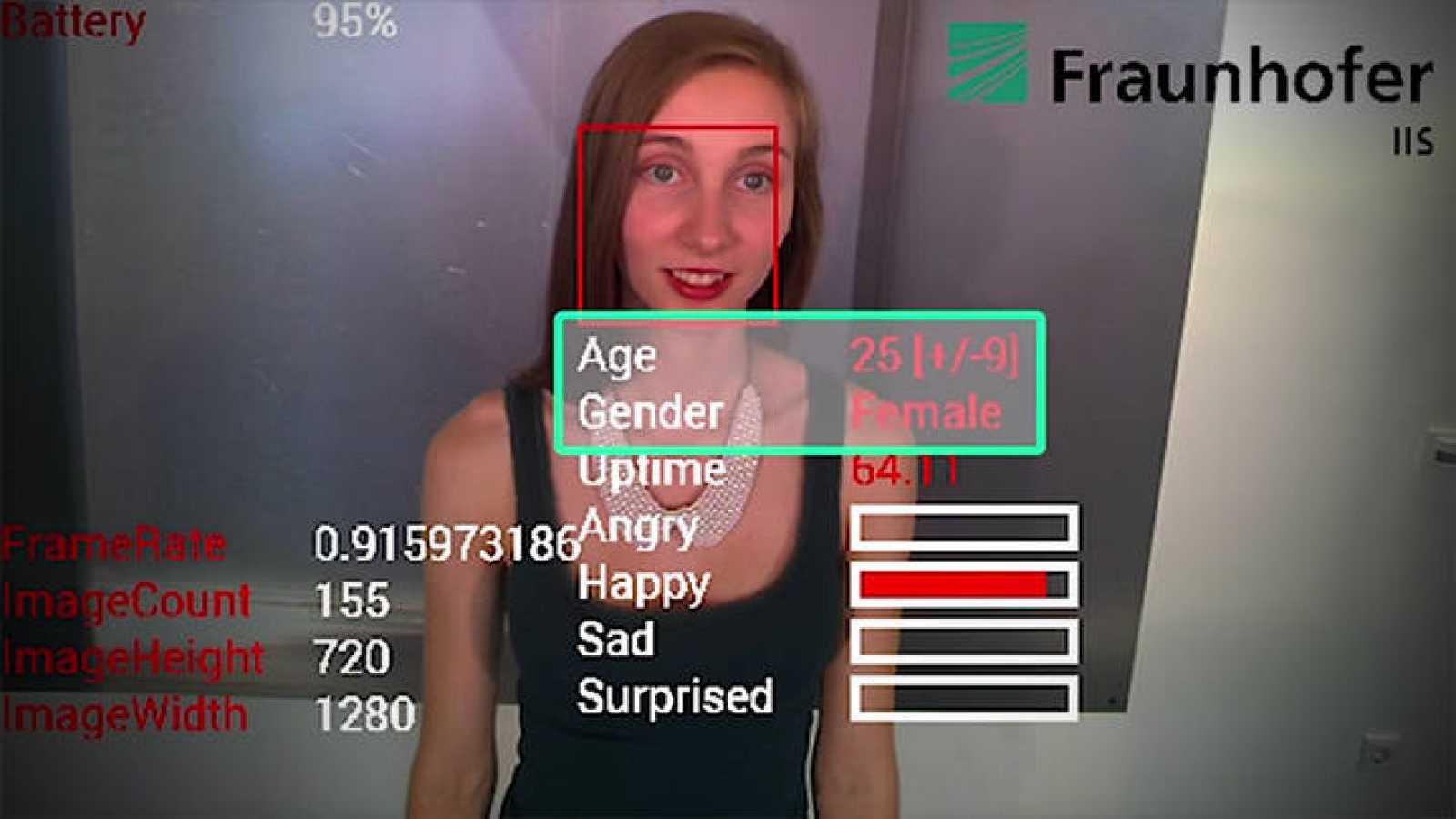 Un momento de la prueba con el software de reconocimiento facial.