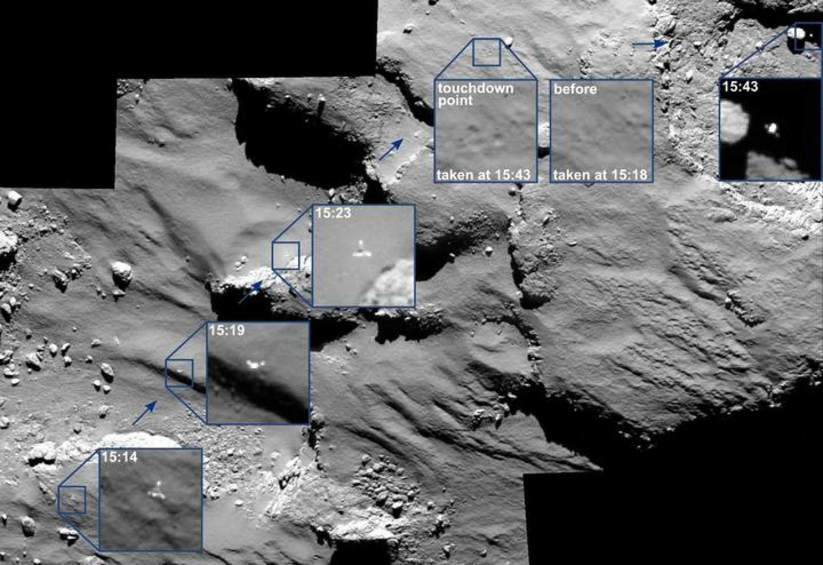 El camino que siguió Philae tras aterrizar en la superficie del cometa 67P.