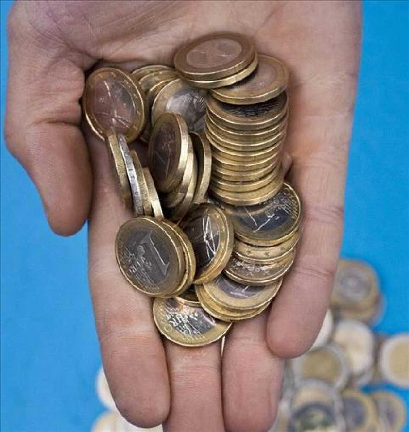 Un puñado de monedas de euro