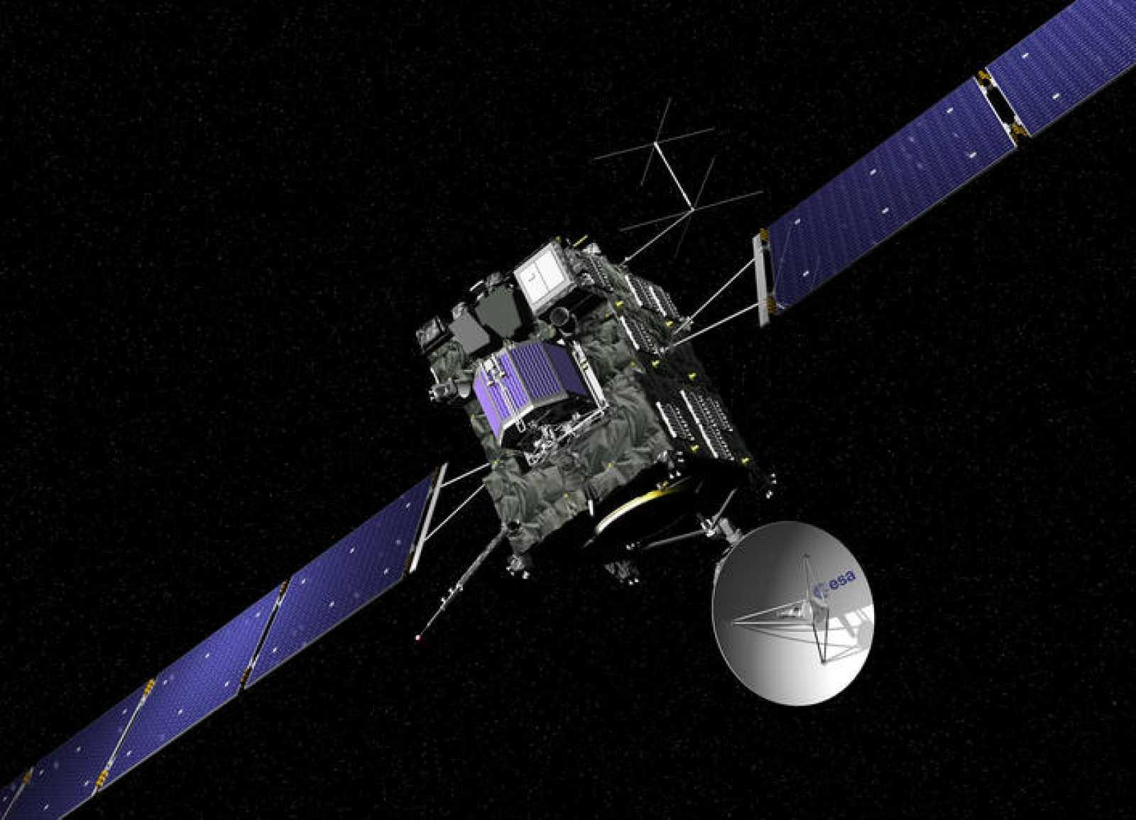 Ilustración de la sonda Rosetta en el espacio.