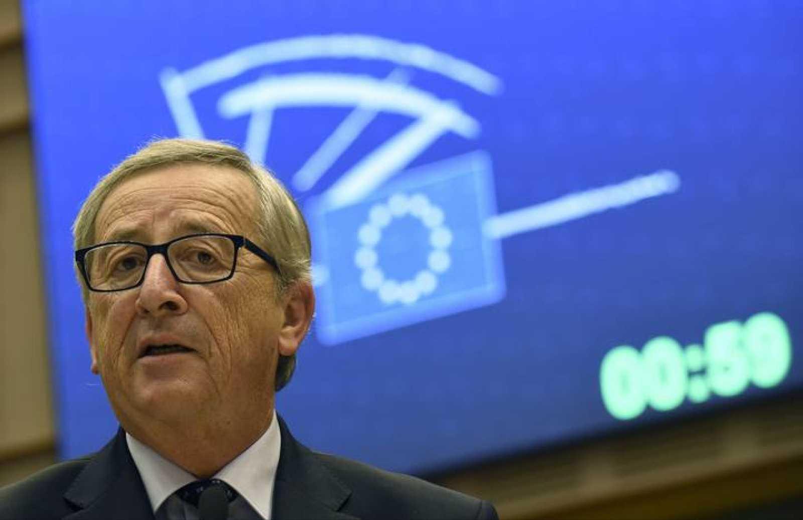 El presidente de la Comisión Europea, Jean-Claude Juncker, en una alocución ante el Parlamento Europeo
