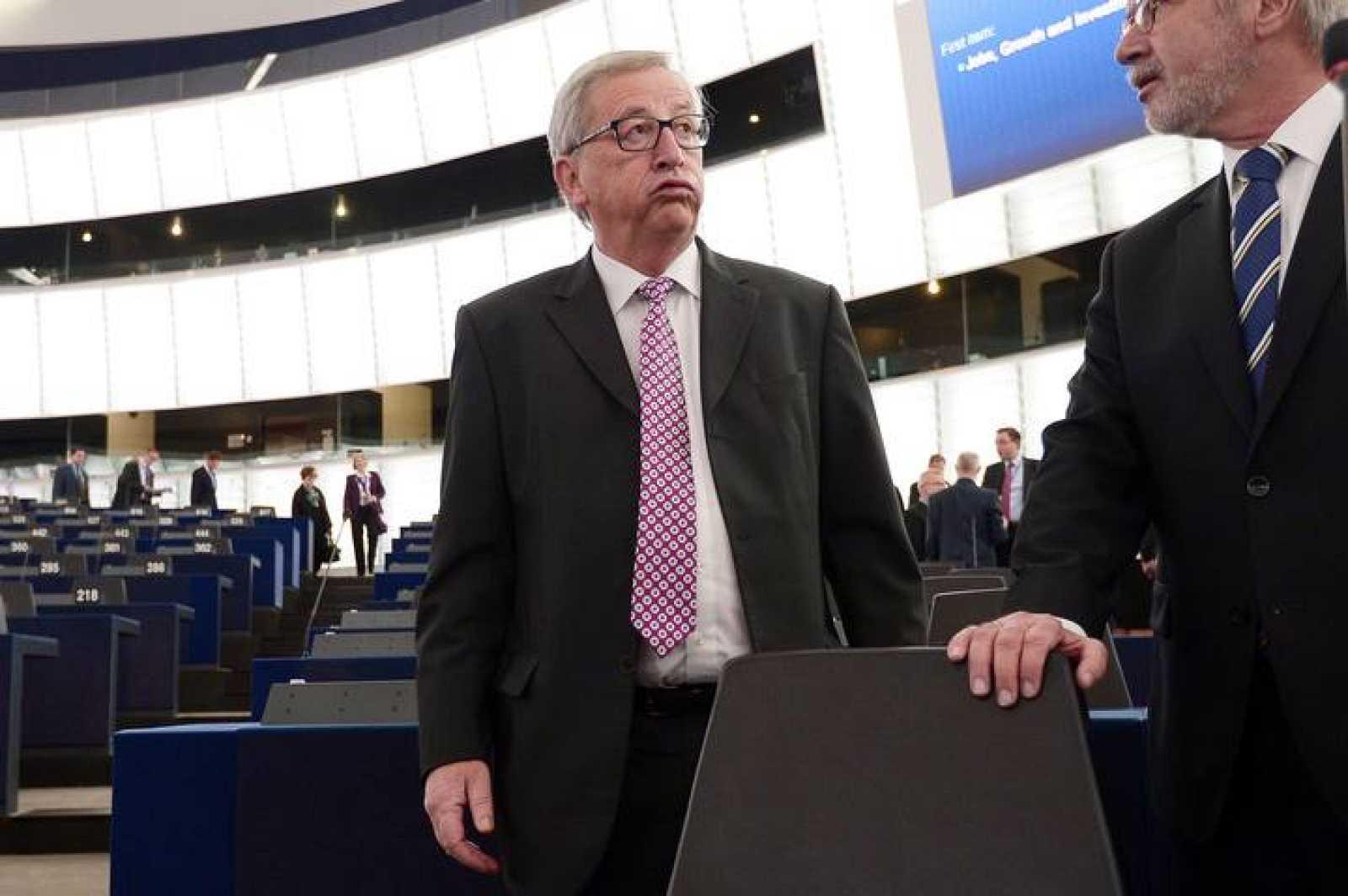 El presidente de la Comisión Europea, Jean-Claude Juncker, en el hemiciclo del Parlamento Europeo